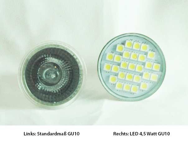 10x gu10 led leuchtmittel mit schutzglas 120 warmwei 4 5. Black Bedroom Furniture Sets. Home Design Ideas