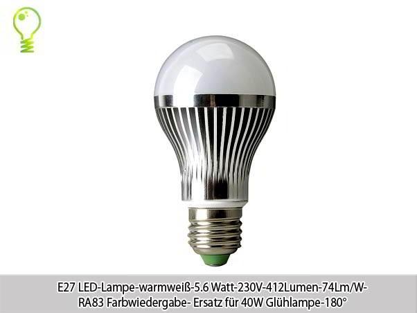 10xe27 led lampe warmwei 5 6 watt 230v 412lumen 74lm w ersatz. Black Bedroom Furniture Sets. Home Design Ideas