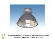 Induction light: 200 watt induction light for 400 watt HQL lamp -replacement 70 Lm/W (5000K)