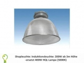 Shop light: 200 watt induction-light from 3m. replaces 400 watt HQL (5000K)
