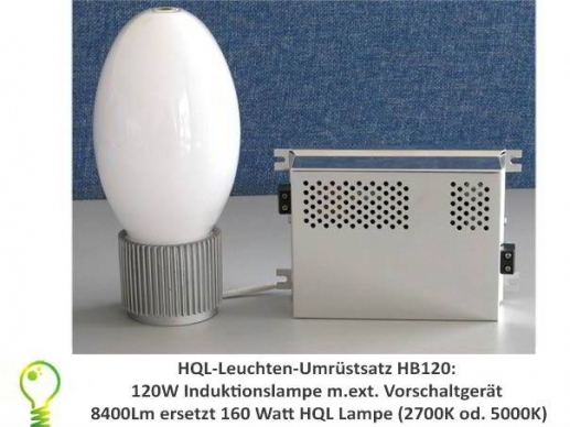 HQL lights conversion: 120 watt induction lamp replacement for 250 watt HQL lamp