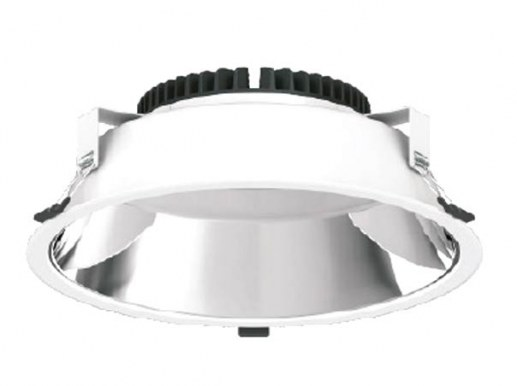 The 172mm LED recessed spotlight for a hole size of 144 mm to approx. 165 mm can be offered for different dimming modes. The model here comes with 1-10Volt dimming analog (also via a dimming line).