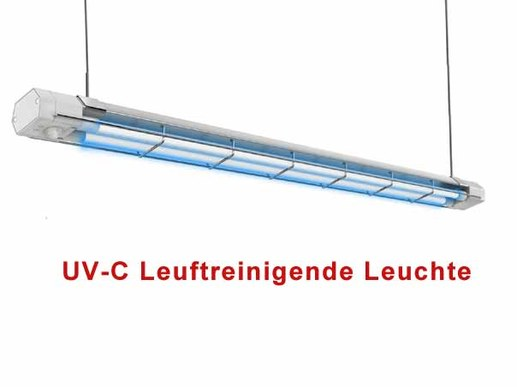 Effective air-purifying and room-cleaning UVC lamp with automatic switch-off (adjustable via remote control). The model has a very high cleaning power of 60Watt (2x30W changeable UVC tubes) and can be hung on the ceiling, on the wall or on 2 ropes. This UV-C air purifying lamp is ideal for stationary mounting. For example in restaurants and pubs after closing time or in fitness studios, processing plants as well as in social rooms and canteens. The area of application is varied. The air and surfaces in the detection zone are cleaned very effectively and quickly. Normally 30-60 minutes cleaning cycle is sufficient.Translated with www.DeepL.com/Translator (free version)