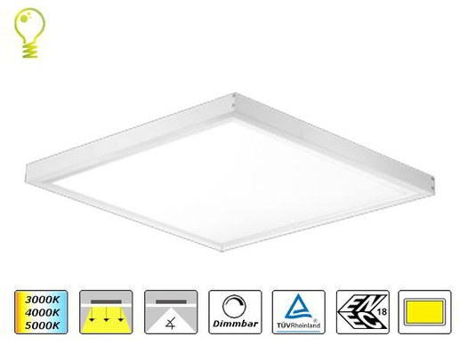 surface mounted LED-panel w. OSRAM LEDs 62x62  4000K 3000lm dimmable 44W ENEC 67lm/W