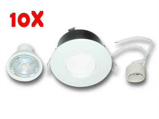 10x 7W GU10 LED spotlights IP65