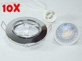 10x 7W GU10 LED spotlights chrome diameter: 82mm cutout:65mm