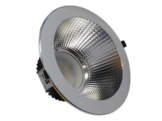 250mm LED Downlight silver IP54 200-240mm cutout dimmable 1-10V