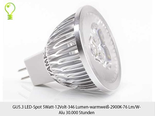 10 Stuck Gu5 3 Led Spot 5watt 12volt 346 Lumen Warmweiss 2900k 76 Lm W