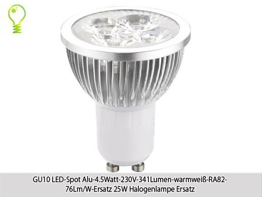 10x LED-spot GU10 4.5 watts- 341 lumen- warm white-RA82- 76 lm/w-replaces 25w halogen lamp