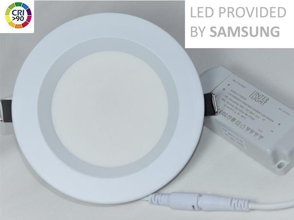 60/° /& Cri 90 7W statt 90W Wei/ß LED Bad-Einbaustrahler Aluminium rund 230V versch DIMMBAR Farben zur Auswahl warmwei/ß 3000K IP44 /& flach 25mm