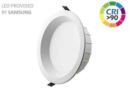 245mm Downlight LED dimmable RA90 Samsung LEDs IP44 200mm cutout 5 years warranty