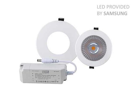 140mm / 110mm LED Downlight with Samsung lEDs in 3000K warm white. Topp CRI90 colour rendering and Samsung LEDs. 5 years manufacturer's warranty