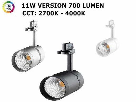 Novel lamp for tracks rails. With very high colour rendering of CRI92 and colour change via remote control between 2300K super warm white up to 4000K neutral white.
