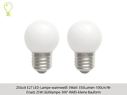 20 pieces E27 LED-3watts- 350lumens- warm white-100 lm/w-replaces 25w lamp-beam angle 300°degrees-CRI85