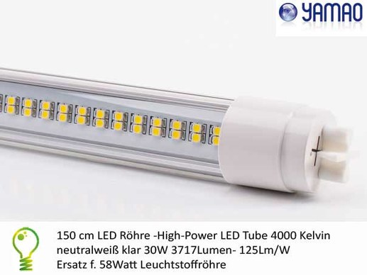 150cm T8 LED tube-30W 4000K-CRI >82-High power LED T8 fluorescent tube replacement