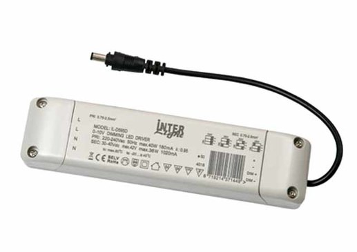 LED driver 25-40W adjustable flicker free 1-10V dimmable 900-1050mA