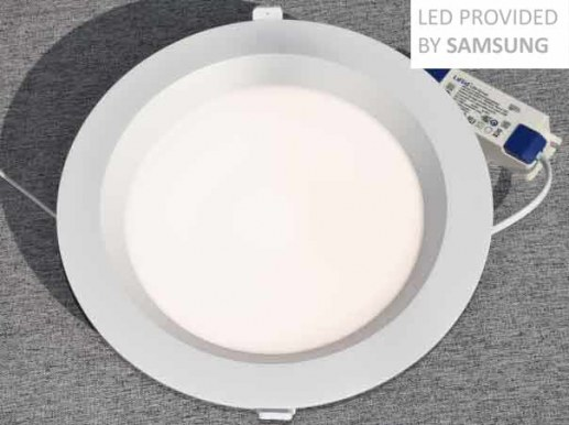 245mm Downlight LED dimmable RA90 Samsung LEDs IP44 200mm cutout flickerfree