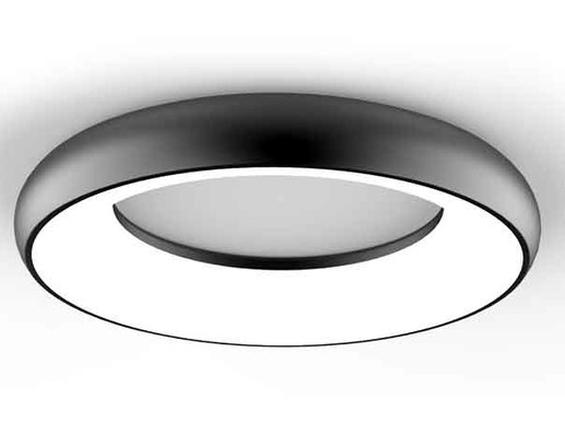 Top modern 30cm round LED ceiling lights in black with 25W power. This very modern ceiling light can be mounted directly on the ceiling or alternatively be suspended from the ceiling with an accessory pendant kit.