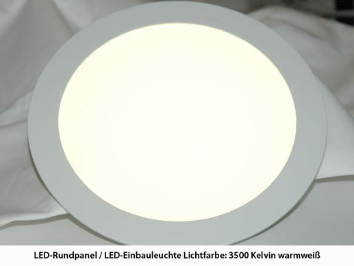 LED-Rundpanel warmwei� 3000K 225mm x 20mm 18W -wei�- Alu 1480Lumen cri>80