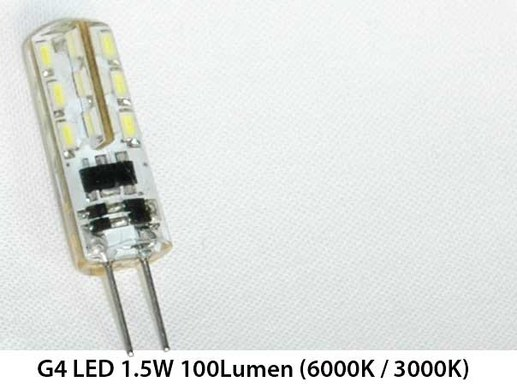 10 pieces G4 LED - 12 Volt-AC/DC cri>80 3000K or 6000K