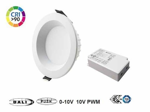 LED recessed spotlight DALI 110mm outer diameter for ceiling cut-outs 90mm to approx. 105mm. The LED recessed spotlight is supplied with a very modern DALI 2 power supply, which is DALI dimmable and also supports analogue 0-10V dimming and PUSH dimming. There are no limits to its use.