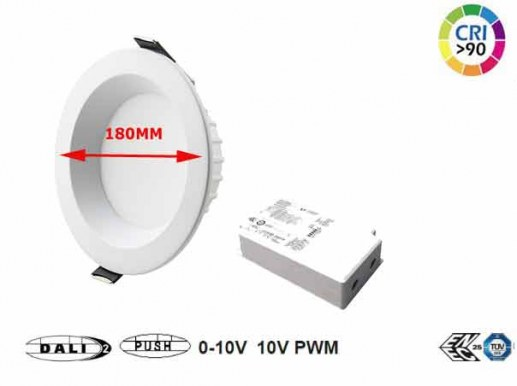 180mm LED ceiling spotlight Dali dimmable CRi92 4000K neutral white 940 with high quality Samsung� LEDs and a very good colour rendering of CRI90. Fits into standard 150mm cut-outs and is dimmable. The model is flicker-free and produces a bright 1500 lumen luminous flux.