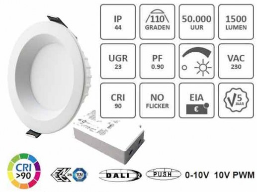180mm LED ceiling spotlight Dali dimmable Topp Samsung LEDs. Available in a 3000K warm white (930) or 4000K neutral white (940). Equipped with high quality Samsung� LEDs, the DALI LED recessed luminaire fits into standard 150mm -175mm cut-outs and is DALI dimmable. Due to the high-quality Samsung� LEDs and a top power supply unit, the manufacturer gives a 5-year warranty on this LED recessed spotlight DALI.