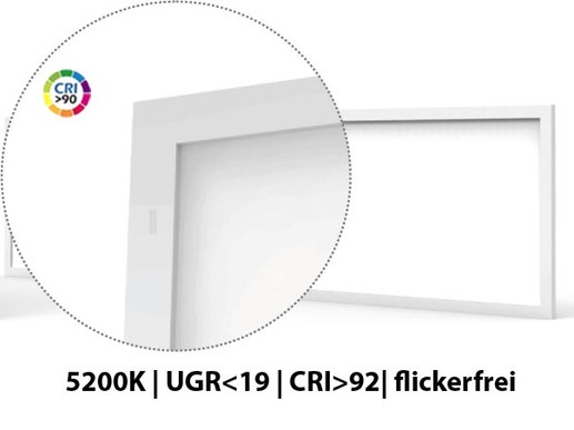 It is suitable where high colour fidelity and reproduction are required. It is frequently used in film and photography, in media production and printing as well as by dentists or for quality control in manufacturing and industry. These 120x30cm 5000K LED panels in daylight white are often used in dental practices and dental laboratories.  Please ask us