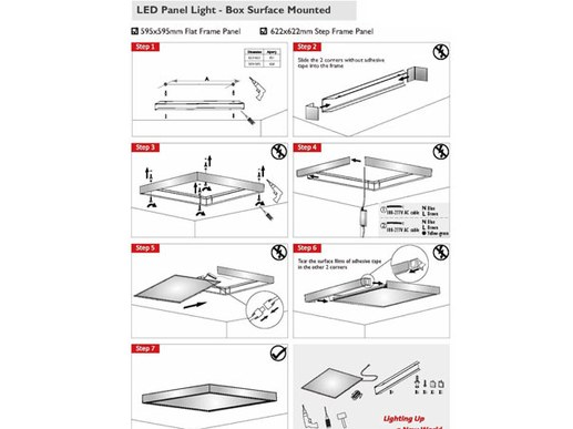 Ceiling mounting frame for IP65 LED Panel 62x62 or 120x30cm