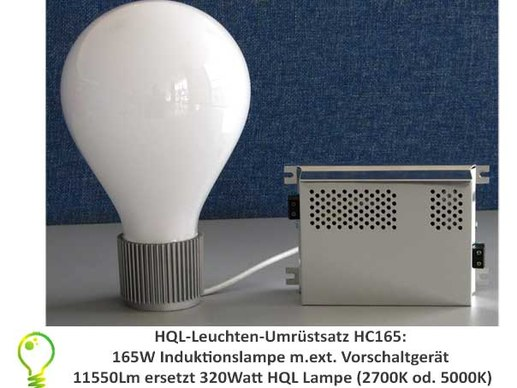 HQL lights conversion: 165 watt induction lamp replacement for 320 watt HQL lamp